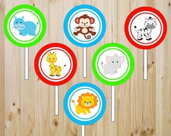 Set of 24 Safari theme Cupcake toppers