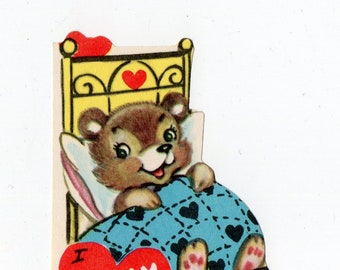 Vintage Bear Valentine | Greeting Card | Valentine's Day, Valentines, Anthropomorphic, Bears, Fairy Tale, Goldilocks | Paper Ephemera