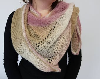 Mini shawl handmade knit