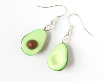 Avocado earrings, fimo avocado earrings, gift for foodie, food jewelry, polymer clay avocado, fimo earrings,
