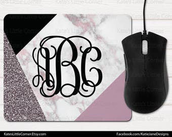 Custom Mouse Pad, Monogram Mouse Pad, Marble Mousepad, Personalized, Rectangle Mousepad, Personalized, Monogram Mousepad, Office Gift