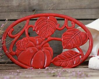 French antique red enamelled trivet. Cast iron trivet. French vintage enamel trivet. Trivet. French kitchen. Red trivet. Pumpkin decor.