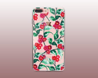 Floral Clear TPU iPhone Case for iPhone 8- iPhone 8 Plus - iPhone X - iPhone 7 Plus-iPhone 7-iPhone 6-iPhone 6S-Samsung S8