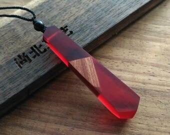 Handmade necklase  resin wood vintage style