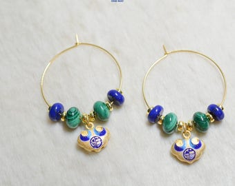 Gold Earrings with Lapis Lazuli, Malachite, Gold Ruyi with Chinese Cloisonné, Enamel Earrings