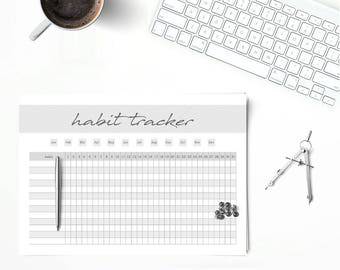 Habit Tracker, Monthly Tracker, Daily Planner, Printables pdf A5, A4, Letter Size, Instant Download
