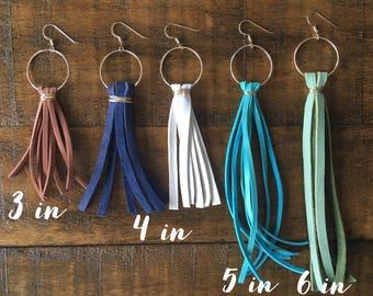 Wire Wrapped Leather Tassel Earrings