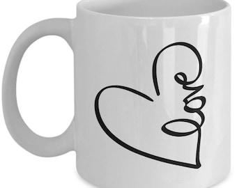 Heart Love - High Quality Cute White & Black Ceramic 11 oz or 15 oz Mug -Love Valentine's Day Mother's Day Birthday Mom Wife Girlfriend Gift