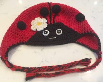 Kids Ladybird Flap Ear Hat
