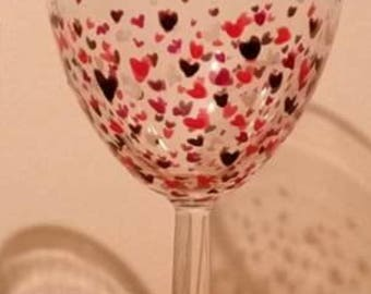 Hand painted dishwasher safe wine glass-love hearts