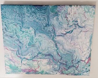 Acrylic Pour--Metallic Waves-- 8x10