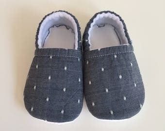 Chambray with white polka dots baby booties, slippers, crib shoes, shoes