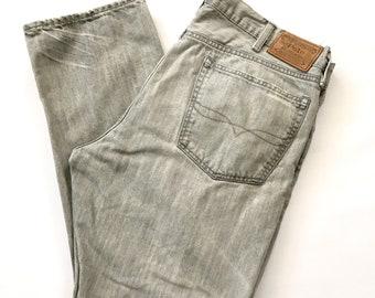 Polo Ralph Lauren Men 38x30 Button Fly Distressed Hampton Straight Jeans Vintage Gray