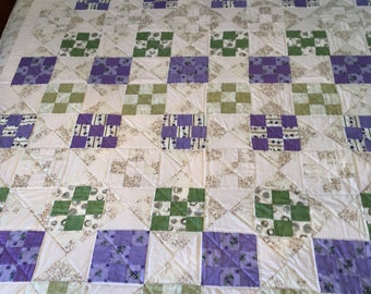 Nine Patch and Hour  Glass Lap Quilt