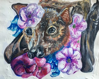Bat with flowers painting, card, A4, acrylic, unique and unusual gift