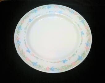Illusions by Excel Reprise/ Model scene 1/ Dinner Plate/ White with 2 rings of flowers on rim / Platinum Rim