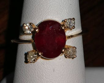 RUBY in 22ct GOLD with DIAMONDS