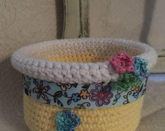 Crochet Basket Grosgrain Ribbon Crochet Flowers