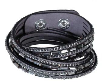 Winding bracelet * Glitter stones angular Grey