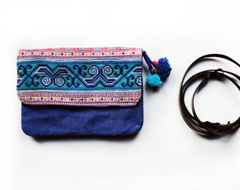 Hippie Bag, Boho Purse, Crossbody Bag, Gypsy Bag, Ethnic Boho Tote Bag, Embroidered Shoulder Bag, Pom Pom Handbag, Blue Clutch, Gift for Her