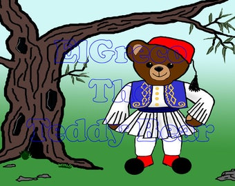 Wall Art,Tsolias,Greek,Teddy Bear,Greek traditional costume,Olive tree,instant download,printable file,El Greco,elgreco