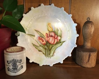 """8"""" Plate with Tulips China Hand Painted Porcelain Flowers wall decor"""