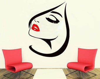Wall Decal Window Sticker Beauty Salon Woman Face Eyelashes Lashes Eyebrows Brows t63
