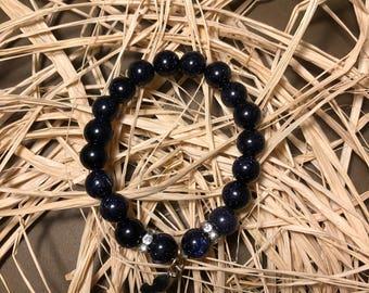 Natural Gemstone Aventurinedark blue Bracelet With Swarovski Elements