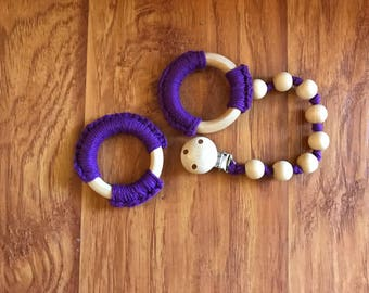 Wooden Teething Ring and Beaded Ring - Sensory Toy