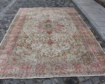 very rare pinkish turkish rug, Free Shipping 7.2 x 10.5 ft. rustic rug, bohemian area rug, unique rug, bohemian area rug, boho rug, MB355