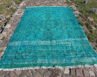 Blue color overdyed turkish rug, Free Shipping  5.9 x 9.4 ft. large size blue rug, hall area rug, bohemian overdyed rug, oushak rug, MB442