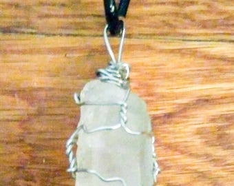 Handmade Wire Wrapped Raw Clear Quartz Crystal Necklace