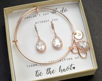 Personalized Bridesmaid Gift  Bridesmaid Earrings  Bridesmaid Jewelry Set  Bridal Earrings  Wedding Earrings Mother of Bride Jewelry Set
