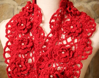 Red wool scarf with flowers