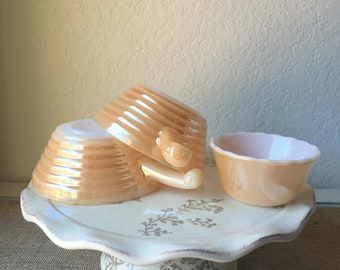 Fire King Peach Luster Beehive Bowl with Handle (2) and matching Ramekin