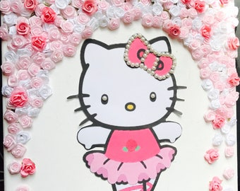 Hello Kitty Wall Decor | Nursery Wall Decor | Baby Girl Wall Decor | Floral  Backdrop