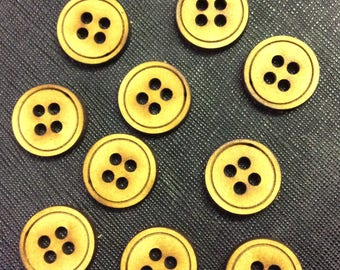 MDF wooden Buttons pack of 25