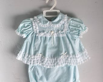 Vintage Baby Dress and Diaper Cover Lace and Blue