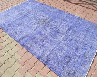 """Large Blue Rug,Unique Home Decor Low Pile Area Rug,Vintage Turkish Handwoven Muted Oushak Rug,Bedroom Dining Room Rug,Rugs, 5'8""""x9'''"""
