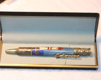 Hand turned Lighthouse Inlayed Pen with Special Nautical Pen Kit in a Black Velour Case
