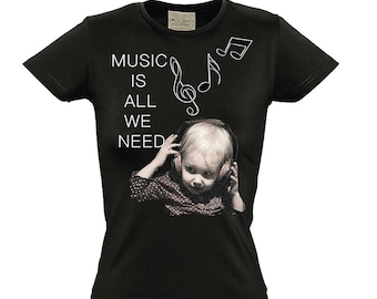 Music Is All We Need Fitted T-Shirt