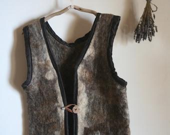 Felted Vest, wool handfelted, Natural Wool, Viking ,rustic,  Folk , Warm