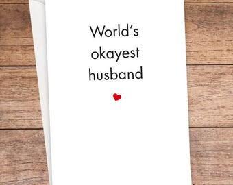 World's Okayest Husband Card