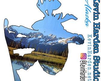 Alaska Snow Board Moose
