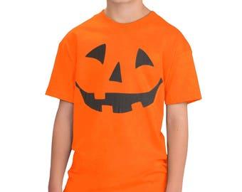 JACK O' LANTERN PUMPKIN Youth T-shirt / Easy Halloween Costume Fun Tee