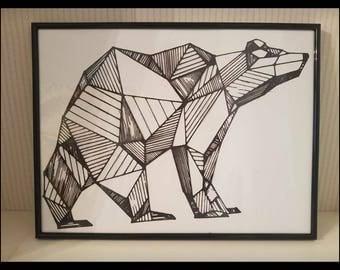 Geometric paper cut bear