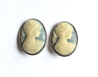 Classic and Bold Cameo Clip On Earrings by Kien Circa 1980s