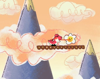 "Yoshi's Island ""Hop Hop! Donut Lifts"" Art Print"