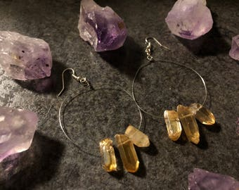 Aura Quartz hoop earrings