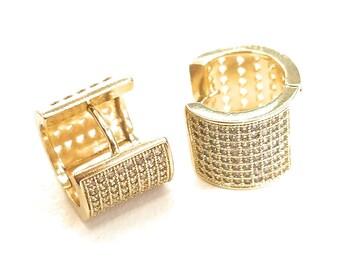 Gold Layered Luna Cz Diamond Huggie Earrings